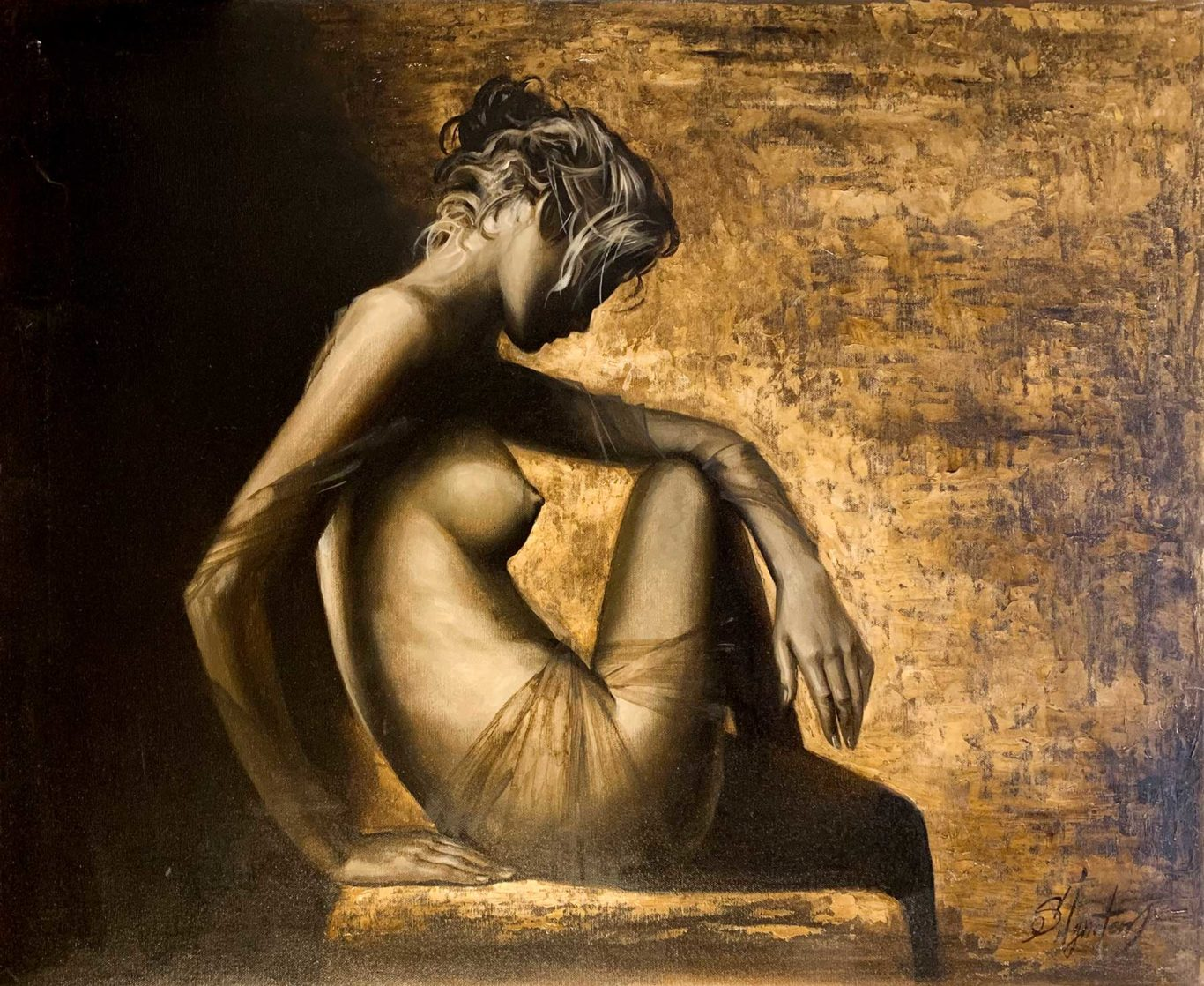 Beautiful woman nude seating on table, Original oil painting by Artist Serge Ignatenko