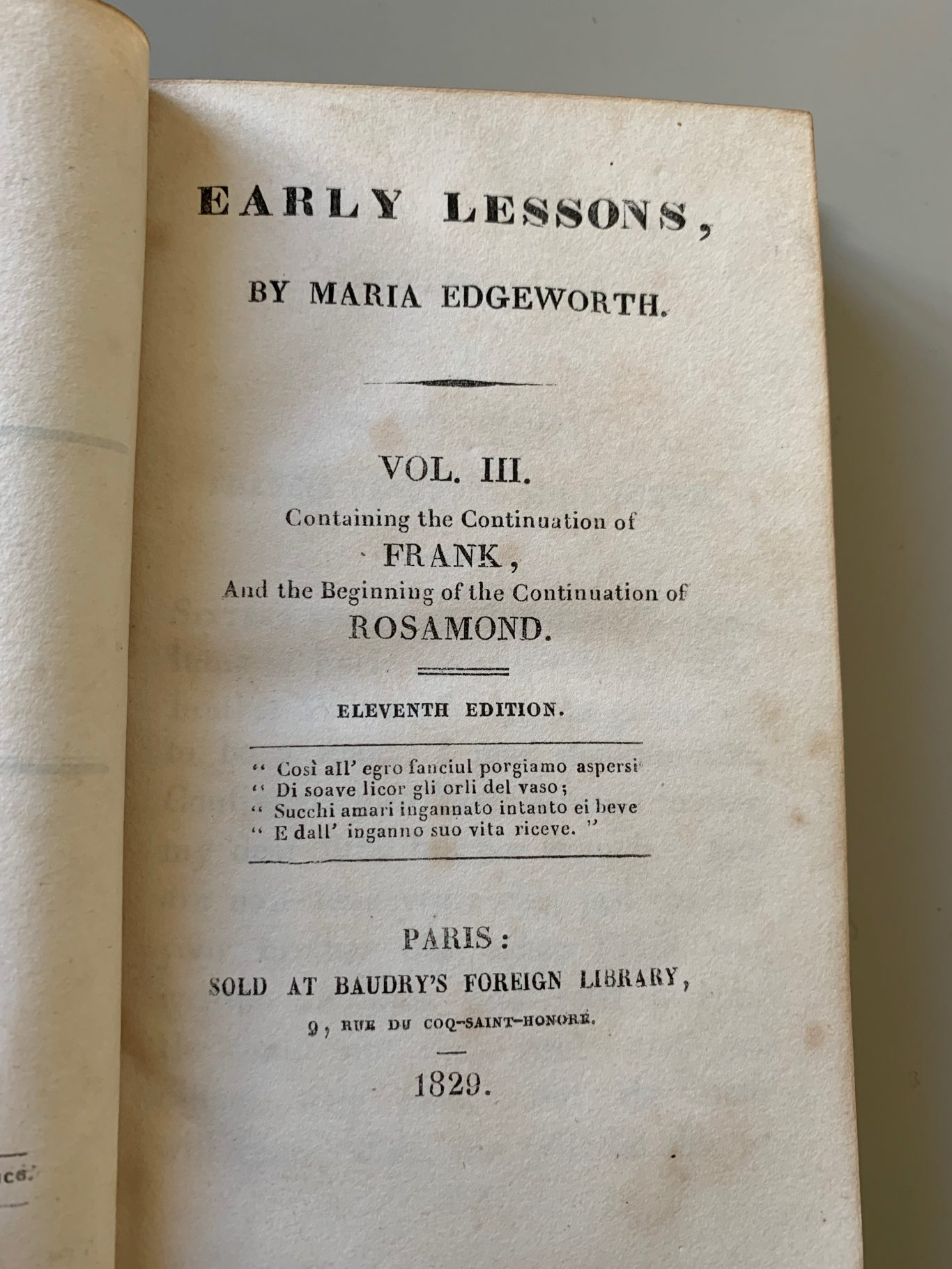 1829 - EARLY LESSONS