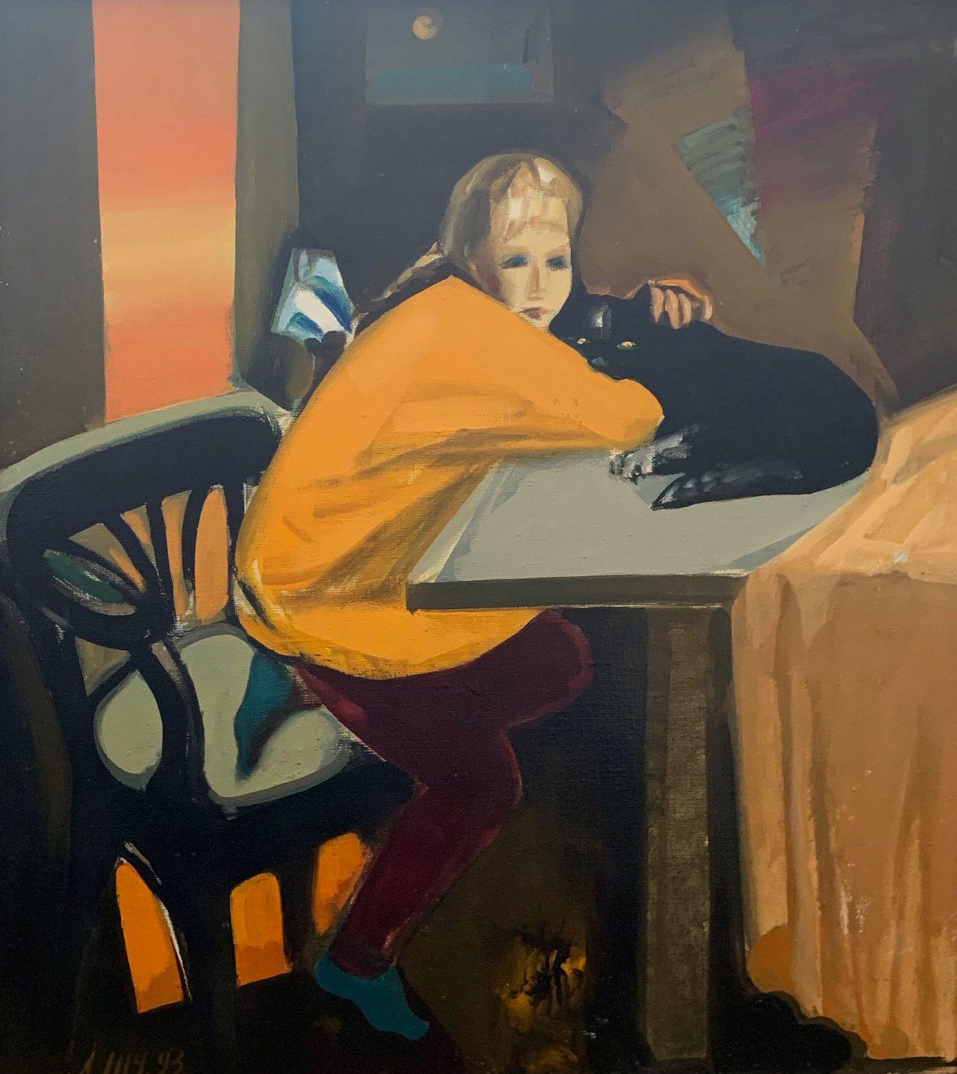 "Leonid Shchemelev ""Girl with a Cat''"